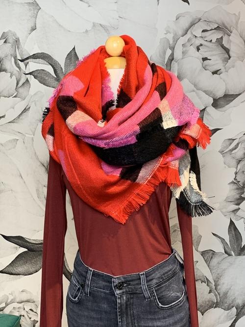 Red & Pink Plaid Fashion Scarf