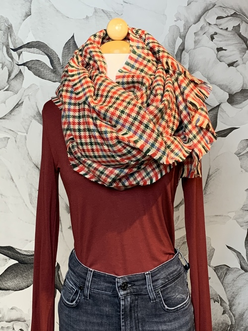 Red Houndstooth Fashion Winter Scarf