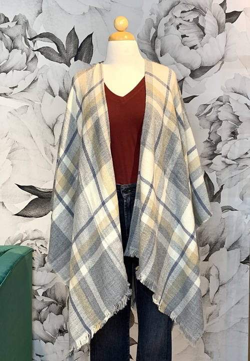 Gray & Tan Plaid Fashion Poncho