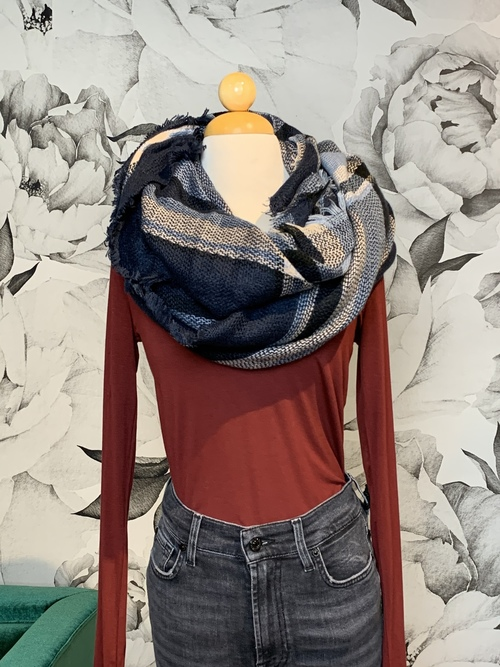 Navy Plaid Winter Blanket Scarf