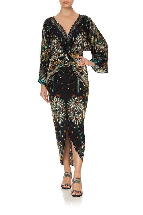 Long Split Front Twist Dress