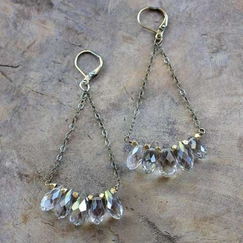 Harlow Champagne Crystal Drop Earrings