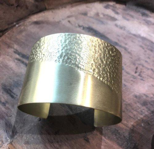 Harlow Half Textured Brass Cuff