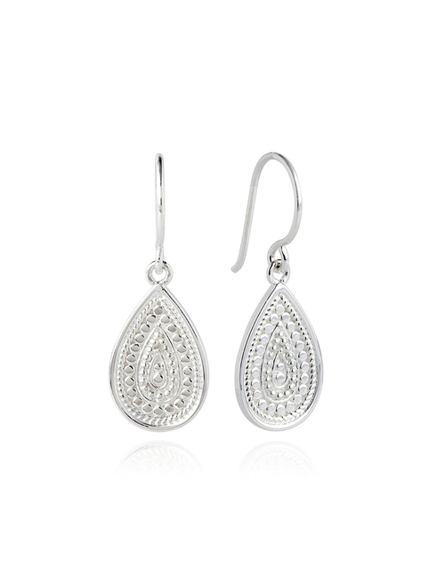 Medium Beaded Teardrop Sterling Silver Earring
