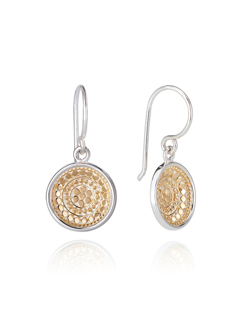 Beaded Dish Drop Gold Plated Earring