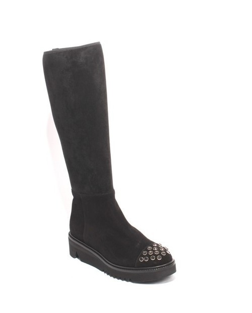 Black Suede / Stretch / Studded Zip Knee High Boots