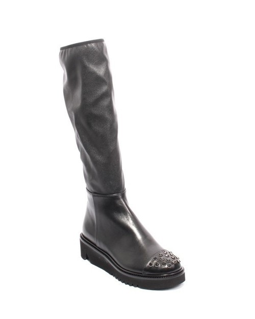 Black Leather / Stretch / Studded Zip Knee High Boots