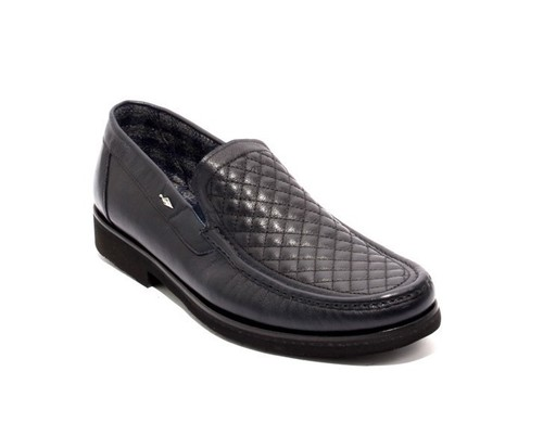 Navy Leather Fleece Elastic Loafers Shoes
