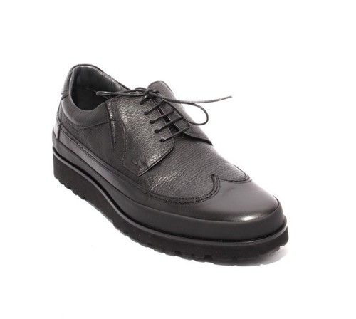Black Leather Elastic Lace-Up Casual Oxfords Shoes