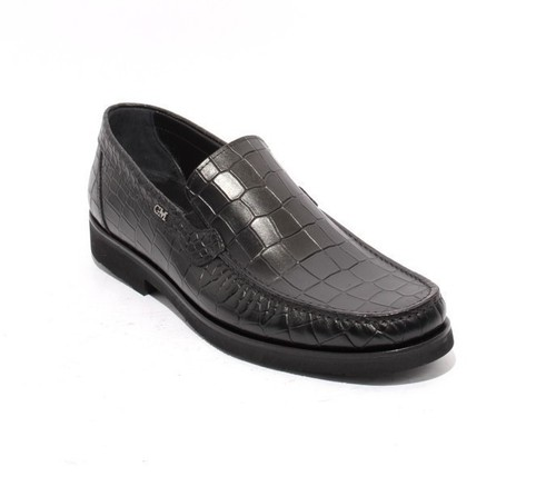 Black Stamped Leather Elastic Loafers Shoes