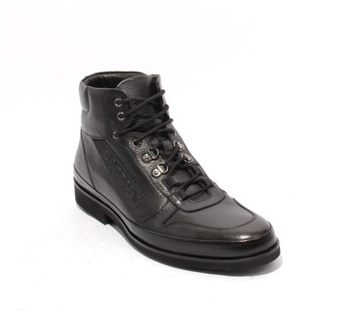 Black Leather Lace Zip Fashion Sneakers Ankle Boots