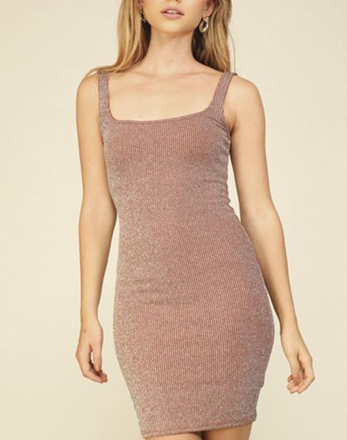 Sleeveless Ribbed Metallic Dress