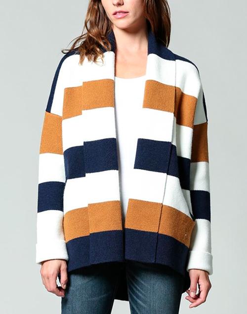 Fold Over Collar Striped Cardigan