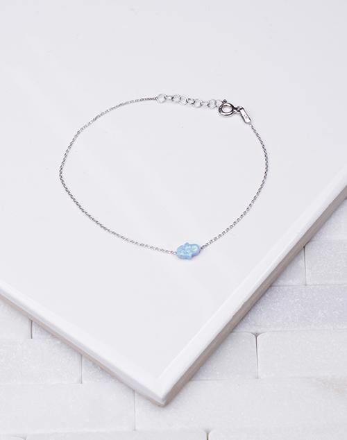 Tiny Opal Hamsa Chain Bracelet