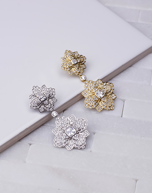 Flower CZ Filagree Dangle