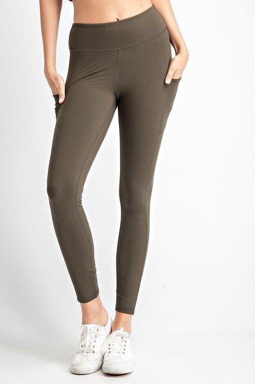 Olive Yoga Stitch Leggings w/ Ankle Reflectors