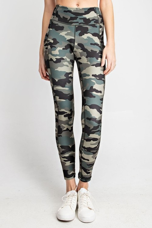 Olive Camo Printed Yoga Pants