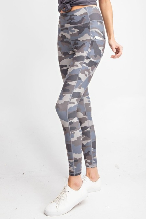 Grey Camo Printed Yoga Pants