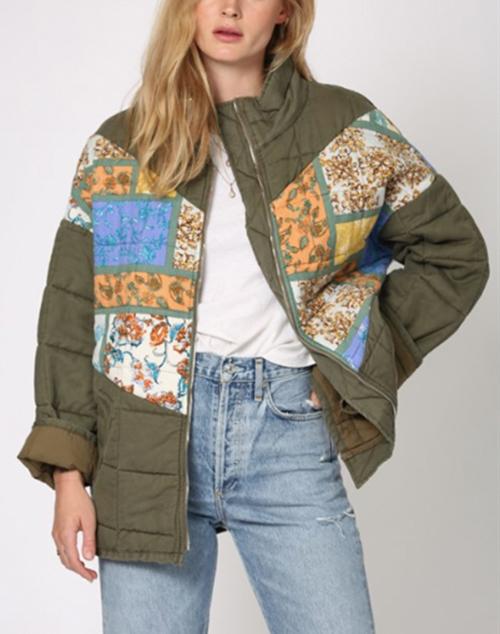 Zip Up Front Jacket With Vintage Print