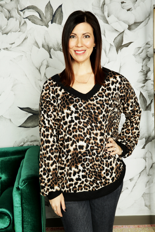 Leopard V-Neck One Shoulder Top