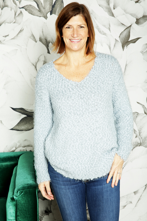 Caterina Light Blue V-Neck Sweater
