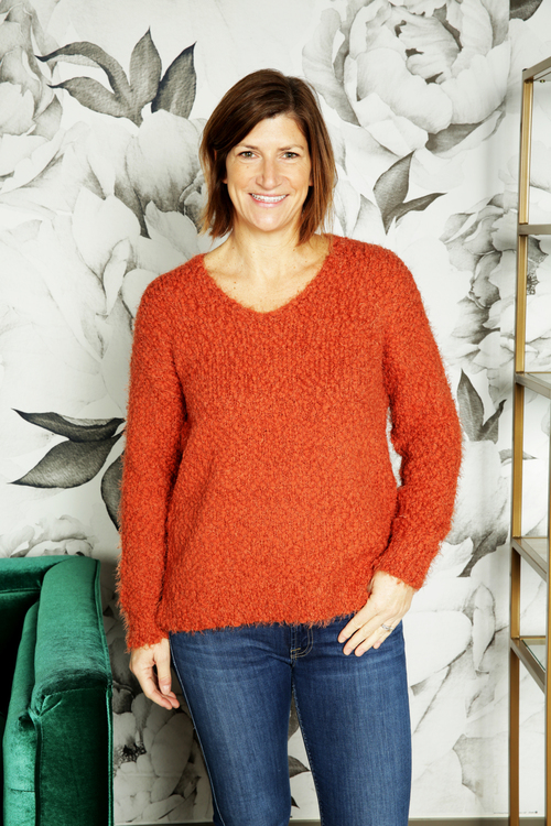 Caterina Rust V-Neck Sweater