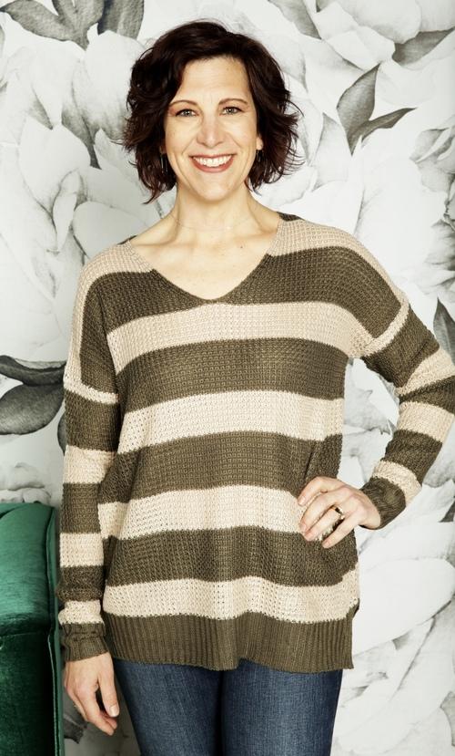 Sabina Waffle Stripe Pullover