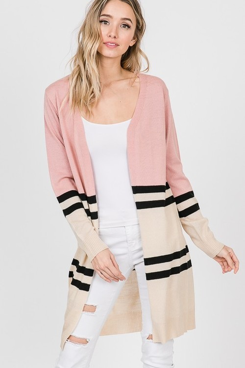 Open Knit Colorblock Cardigan