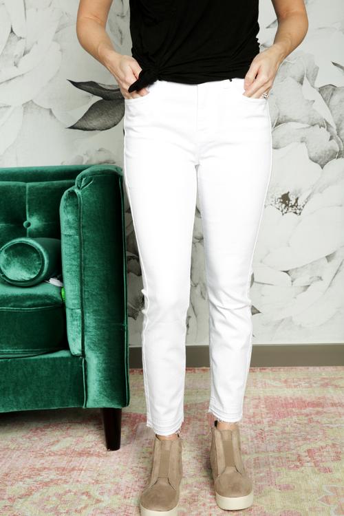 Jen7 Ankle Skinny White Denim