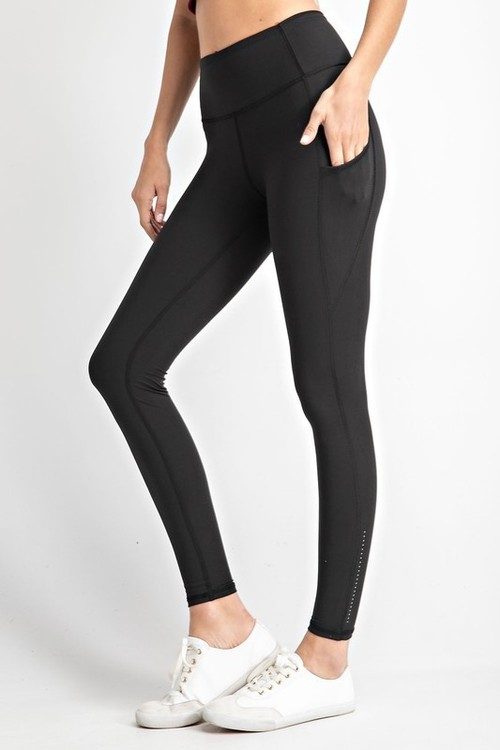 Black Yoga Stitch Leggings w/ Ankle Reflectors