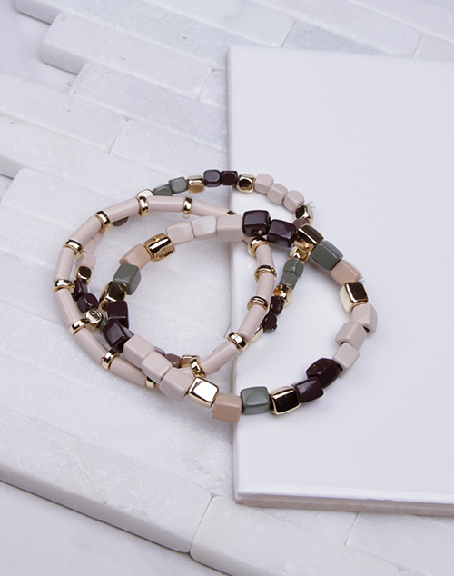Stretchy Enamel Bracelet Set