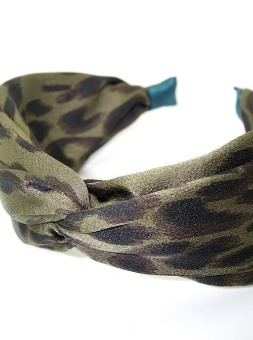Green Top Knotted Leopard Headband