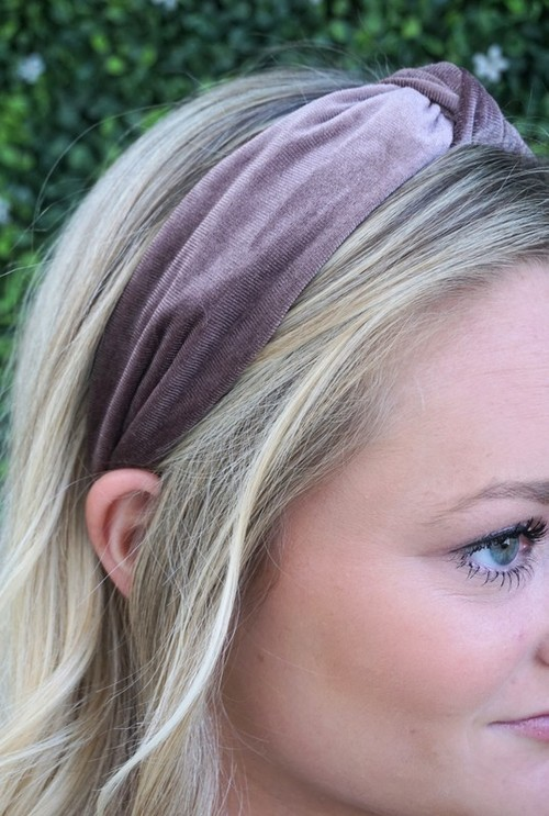 Dark Blush Velvet Top Knotted Headband