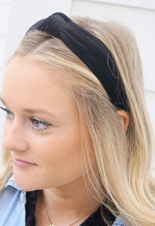 Black Velvet Top Knotted Headband