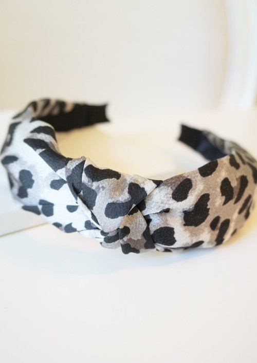 Grey Leopard Top Knotted Headband