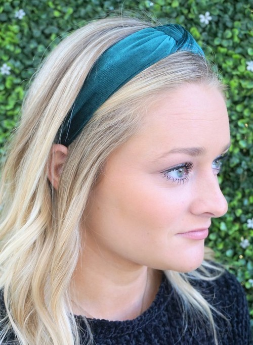 Teal Velvet Top Knotted Headband