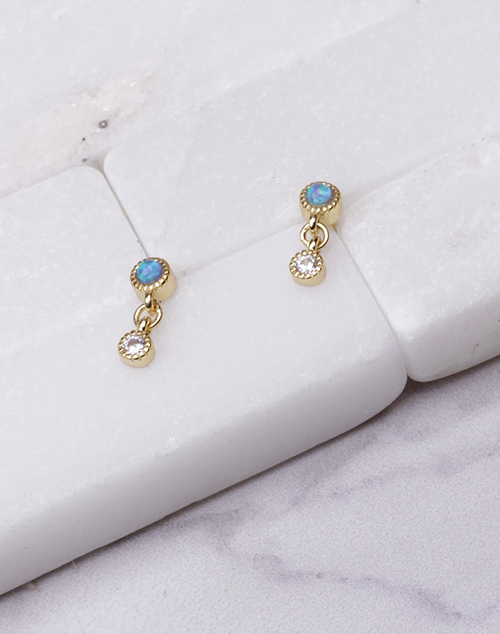 Tiny Opal Bezel CZ Drop Stud