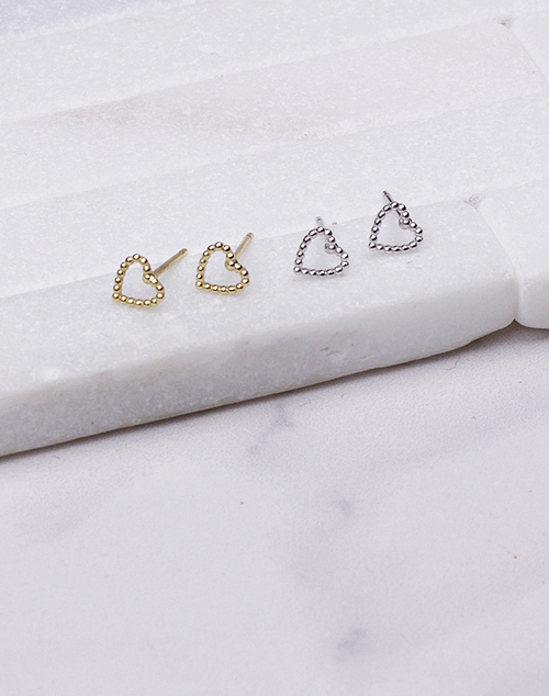 Tiny Beaded Open Heart Stud