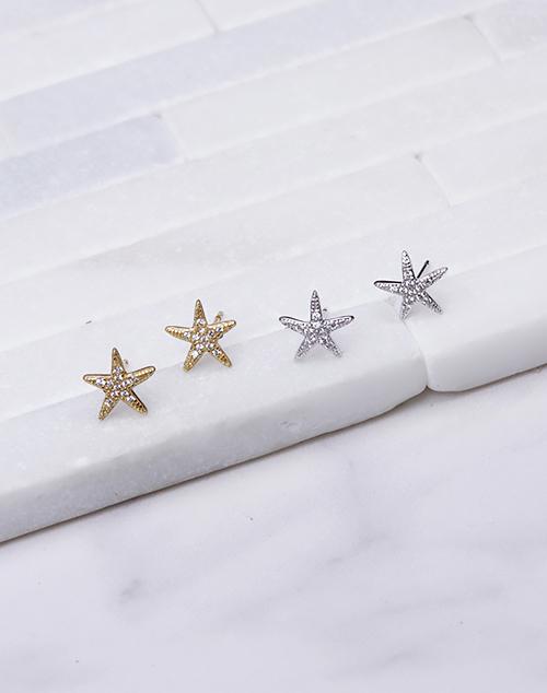 CZ Textured Starfish Stud