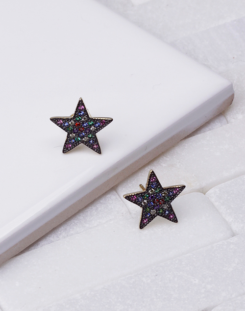 Large Black Multi CZ Star Stud