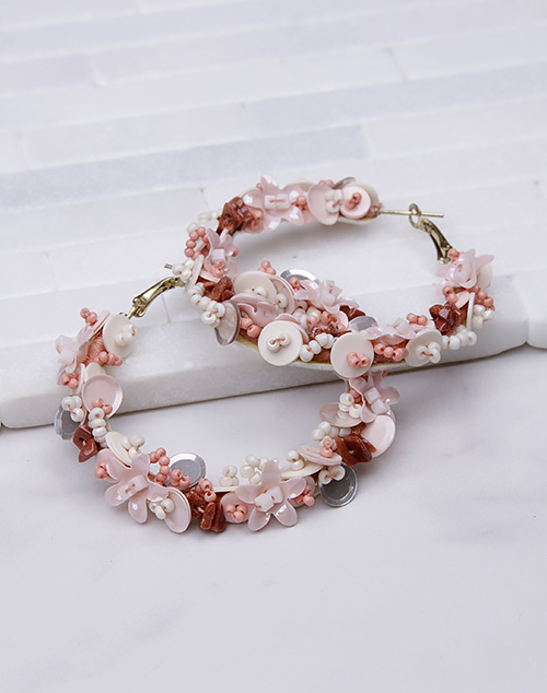 Flower Beaded Hoops