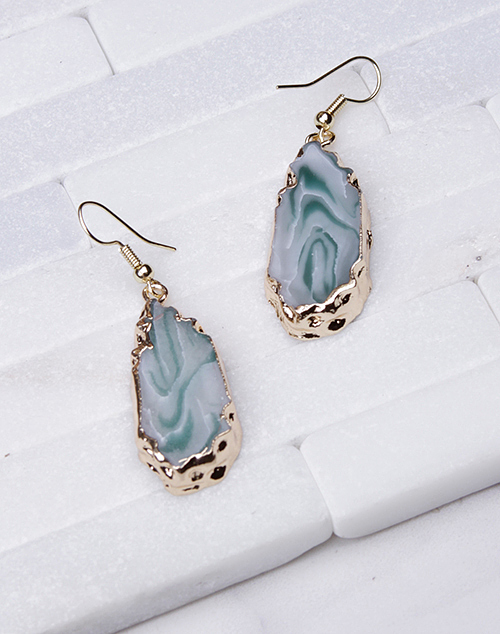 Gold Dipped Marble Dangle