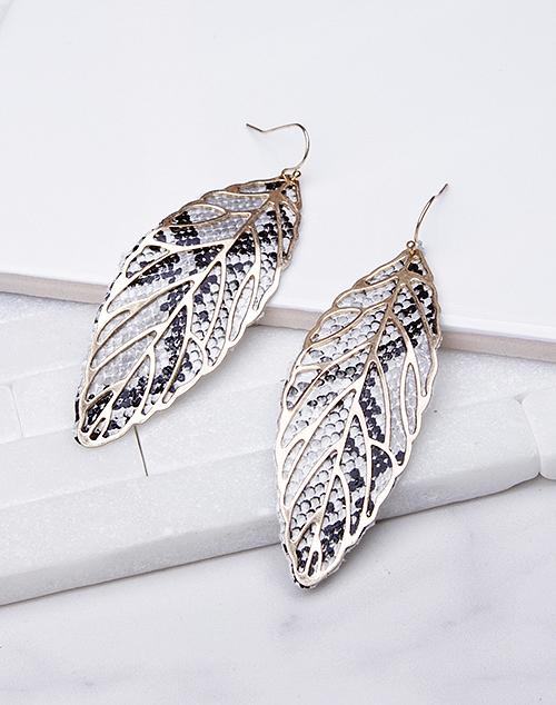 Faux Leather Embellished Leaf Dangle