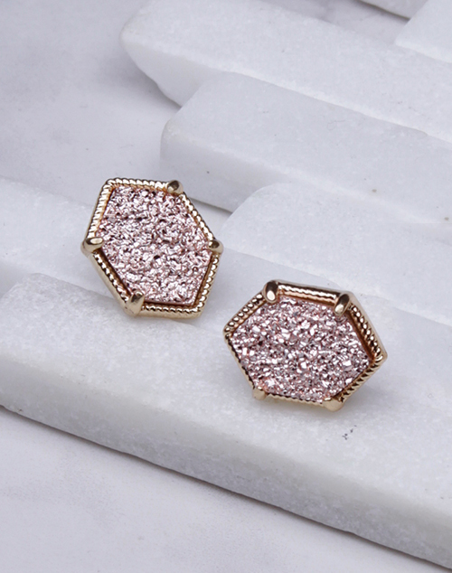 Large Hexagon Druzy Stud