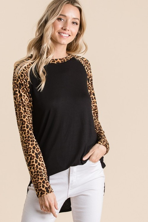 Leopard Contrast Solid Tunic Top