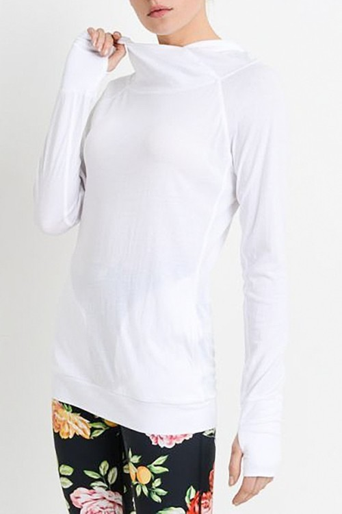 White Work Out Sleek Hoodie Top