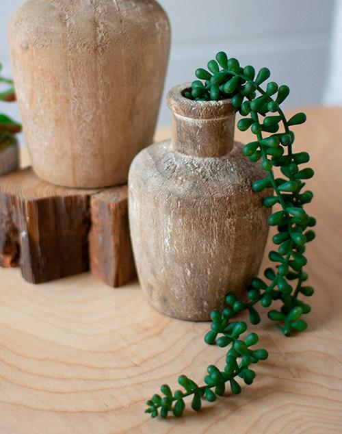 Small Carved Shoulder Wooden Bottle