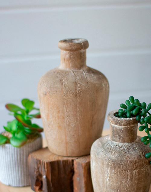 Large Carved Shoulder Wooden Bottle