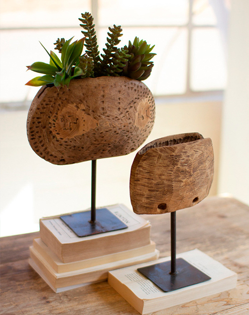 Small Repurposed Wooden Cowbell Planters