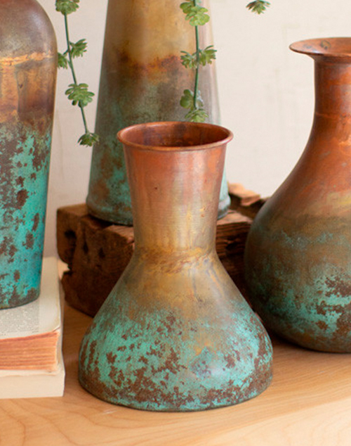 Small Two Toned Copper Vase